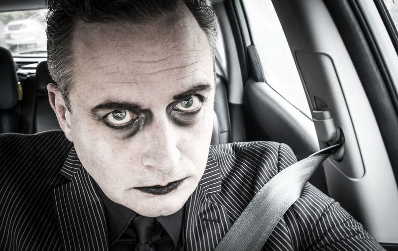 Halloween Adult Car Car Interior Front View Headshot Human Face Indoors  Land Vehicle Looking At Camera Make Up Men Mid Adult Mode Of Transportation Motor Vehicle One Person Pinstripesuit Portrait Real People Transportation Vehicle Interior Window