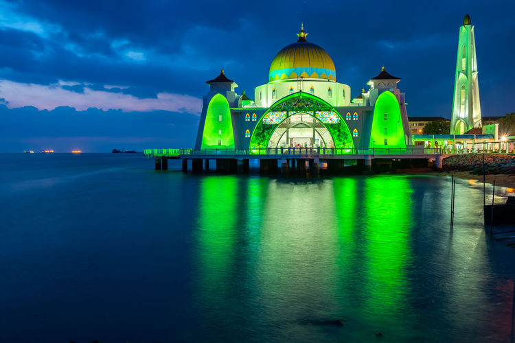 Malacca Sky Building Exterior Built Structure Dome Architecture Religion Belief Spirituality Water Place Of Worship Waterfront Cloud - Sky Travel Destinations Reflection Nature No People Blue Building Illuminated Mosque