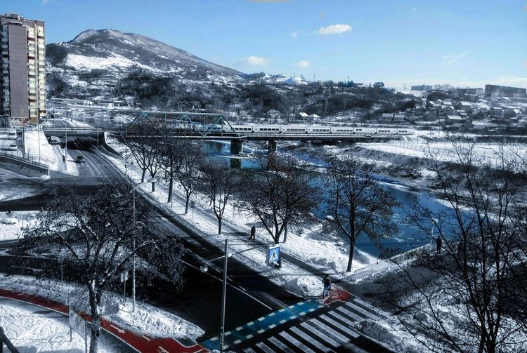 Snow Zenica Zenica, BiH Bosnia And Herzegovina White Bosnia Architecture Train Rail Road Built Structure Sky City Sunlight Tourism Bridge - Man Made Structure Outdoors Cityscape No People Water Tree Day Mountain