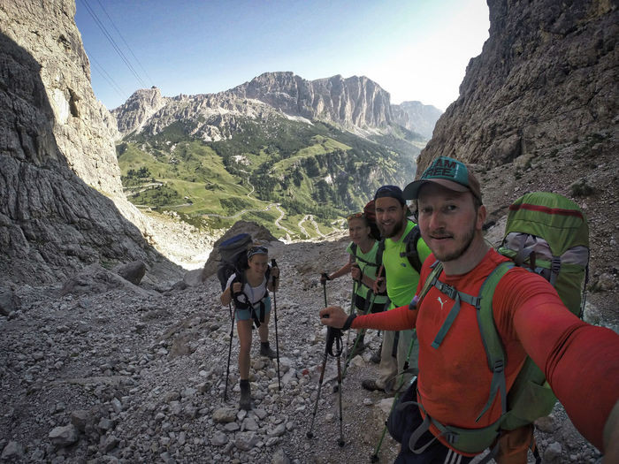 Ascent to Piz Boé (3.152m) // 28 stages in 33 days // Watch the full story video of our 600km hike from Munich to Venice on www.gipfelfreizeit.de/ueber-alle-berge Adventure Carefree Escapism Geology Landscape Mountain Mountain Range Non-urban Scene Valley
