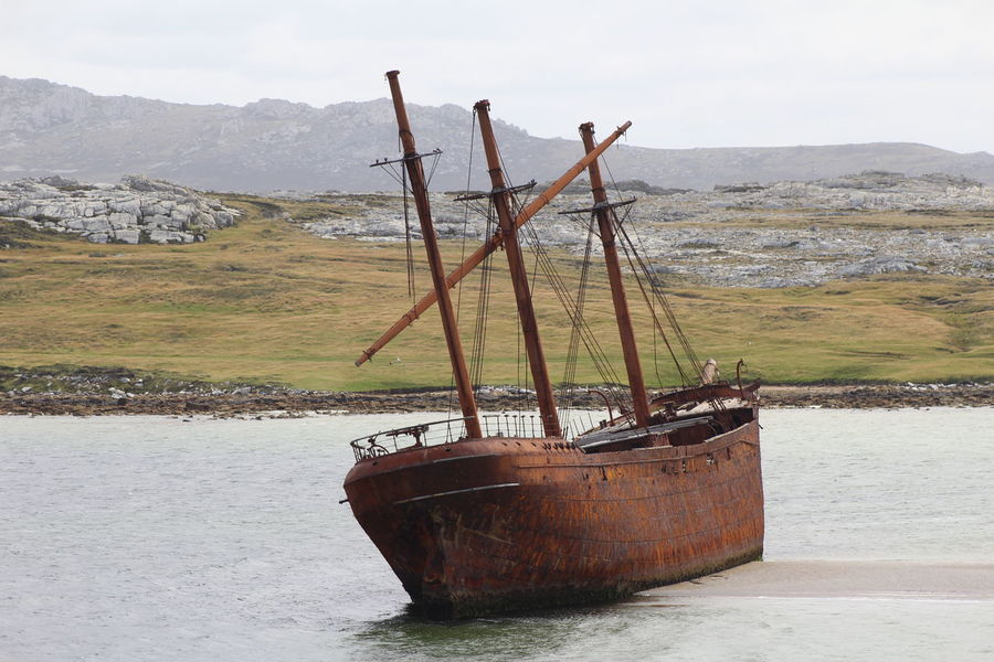 Lady Elizabeth Falkland Islands....... Beauty In Nature Day Islands Masts Mountain Nature Nautical Vessel No People Outdoors Scenics Sea Ship At Sea Shipwreck Sky Water
