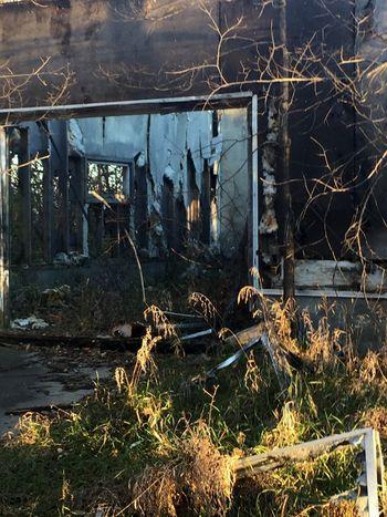 Phone photo. Old burned down farm house.