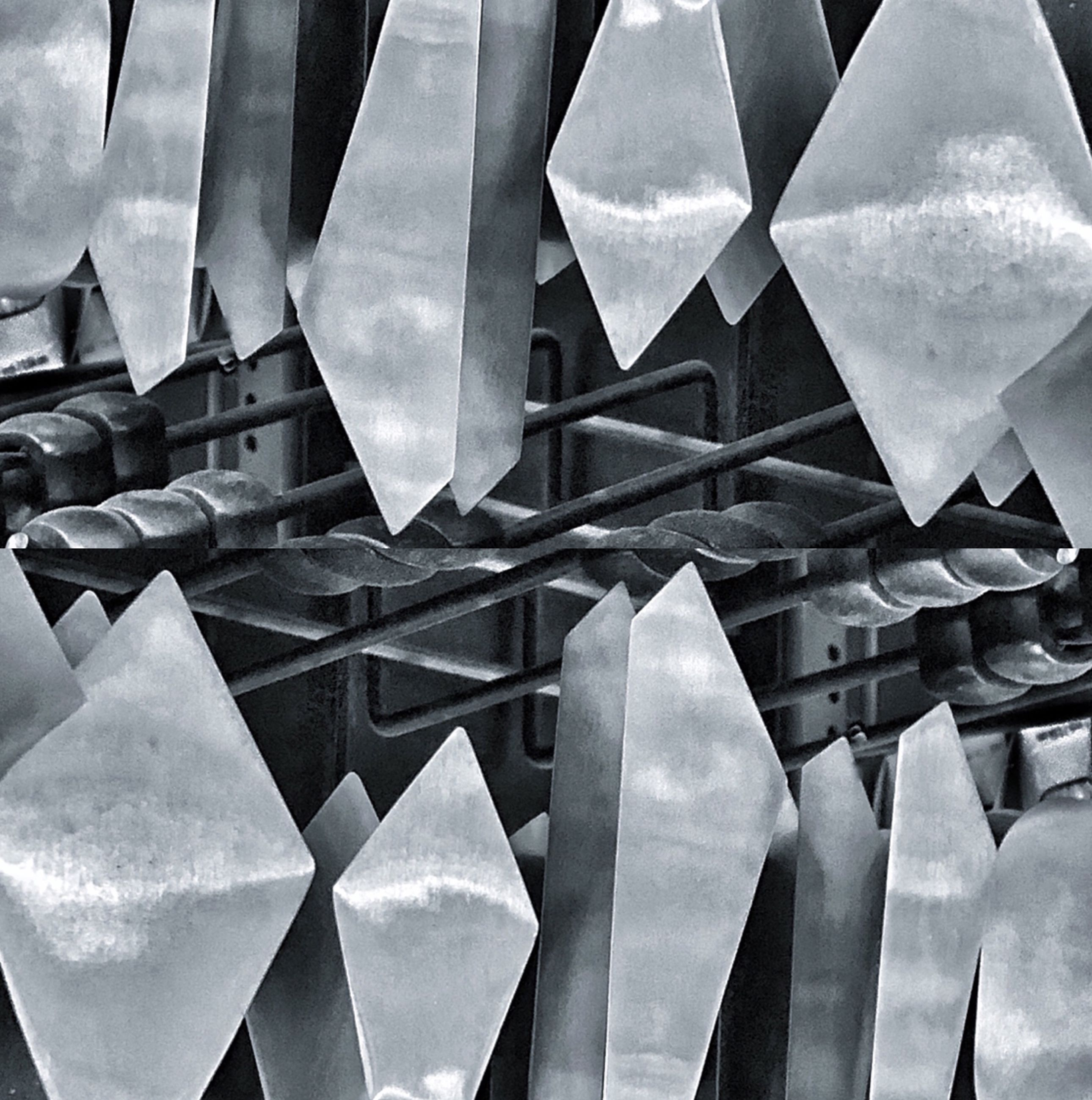 no people, full frame, backgrounds, pattern, low angle view, built structure, shape, design, day, close-up, outdoors, cloud - sky, architecture, repetition, geometric shape, metal, large group of objects, paper, sky, architecture and art