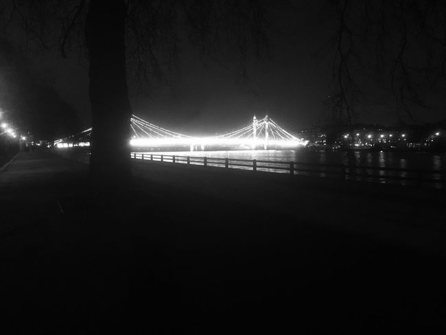 Albertbridge at Night Embankment Battersea Park London Uk Blackandwhite Stunning Riverthames Spring Nighttime Stars Moon Clearsky Welcome To Black