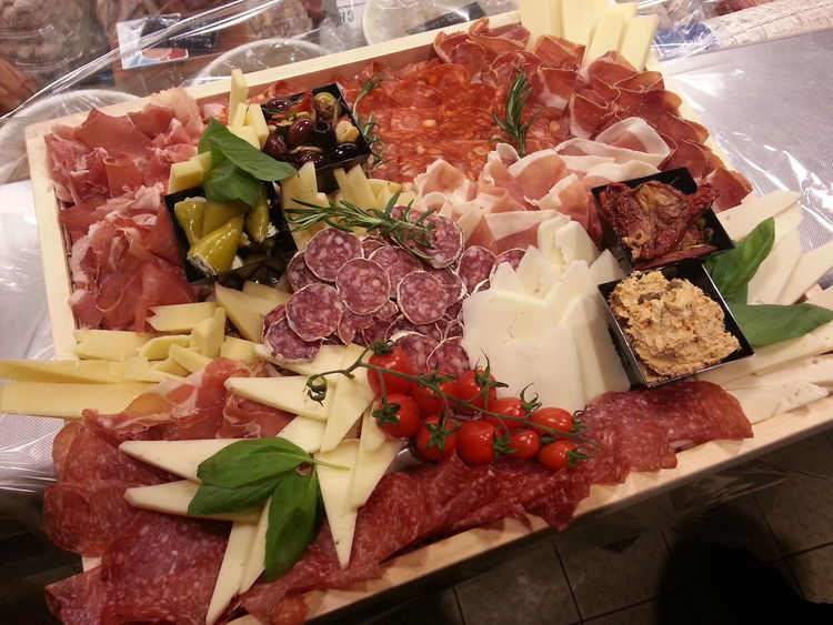 Flowers & Food Cheese Ham Plates Salami Sausage Tomatoes Vegetables