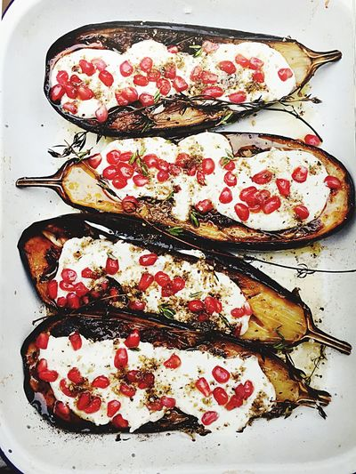 Eggplant with Pomegranates  grilled any served with Buttermilk sauce!!! Yummy 😋