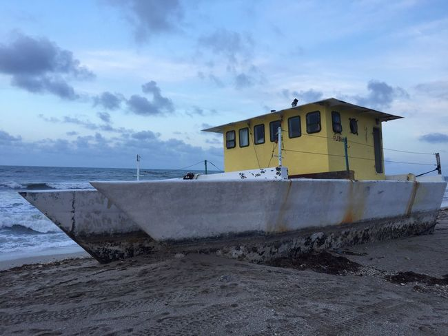 Sea Sky Built Structure Cloud - Sky Beach Water No People Sand Architecture Nautical Vessel Building Exterior Outdoors Day Nature Horizon Over Water Beauty In Nature Shipwreck Boat shipwrecked boat on beach Hurricane Irma 2017