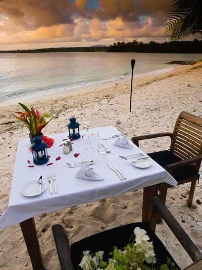 Beach Dinning for Two Evening sunset Port Vila Vanuatu Beach Dinner Outdoors Pacific Ocean Port Vila Vanuatu Resort Restruant On The Bay  Resturant Romantic Romantic Meal Tranquility Travel Destinations Wild Ginger