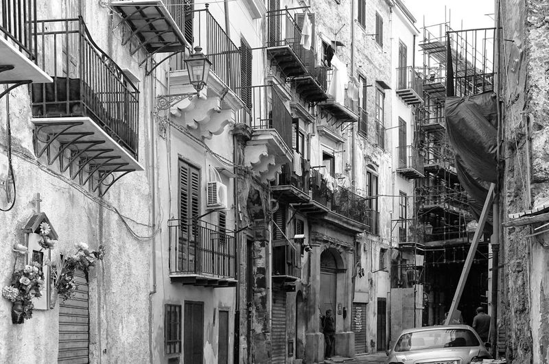 old alley in black and white, Palermo, Sicily, Italy Palermo Travel Black And White Alley Old Town Balconies No People City Architecture Street