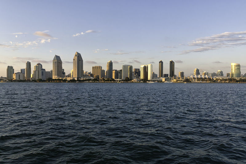 Skyline of San Diego at sunset, USA. Buildings and skyscrapers in California. Concept for travelling and business Business Coastline Downtown Harbor Modern Panoramic San Diego Scenic Skyscrapers Twilight America Architecture Buildings City Cityscape Commercial Dock Dusk Landmark Skyline Summer Sunset Town Urban Waterfront