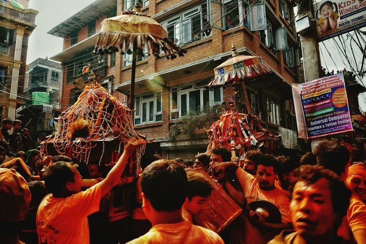 Chariot Crowd Local Festival Of Nepal