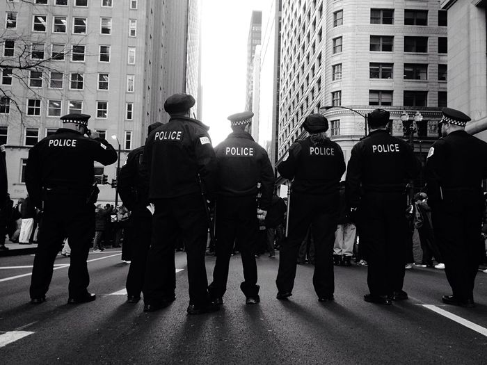 Chicago Police Chicago Pd Police Line Public Protest Police Shooting Laquan McDonald Shooting Chicago Downtown Black And White IPhoneography Resist