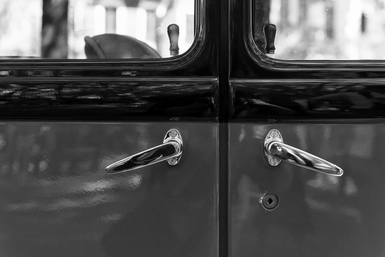 Close-Up Of Vintage Car Door Handles