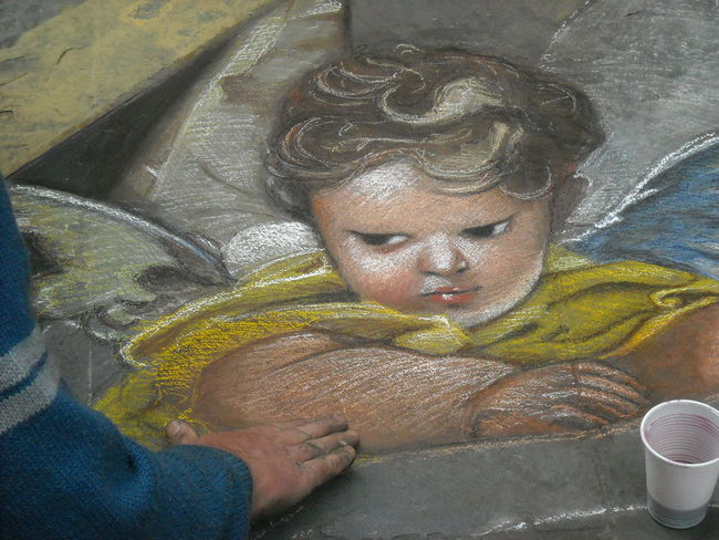 Crayons Drawing Street Painting Classic Painting On The Street Artist Streetart Renaissance Europe Painting Artistic Art And Craft Reinessance Florence Italy❤️ Crayon