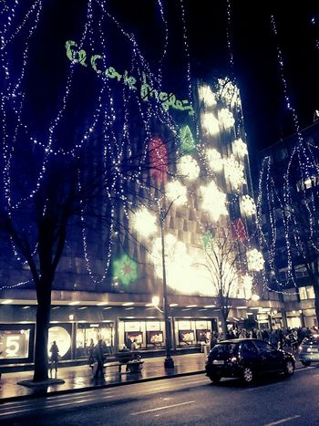 Bilbao El Corte Inglés CorteInglés Navidad Chrismas Christmas Lights Neon Outdoors Night Illuminated Architecture Travel Built Structure Travel Destinations City Building Exterior The City Light Welcome To Black
