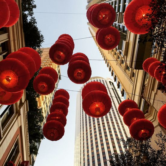 Low angle view of red lanterns