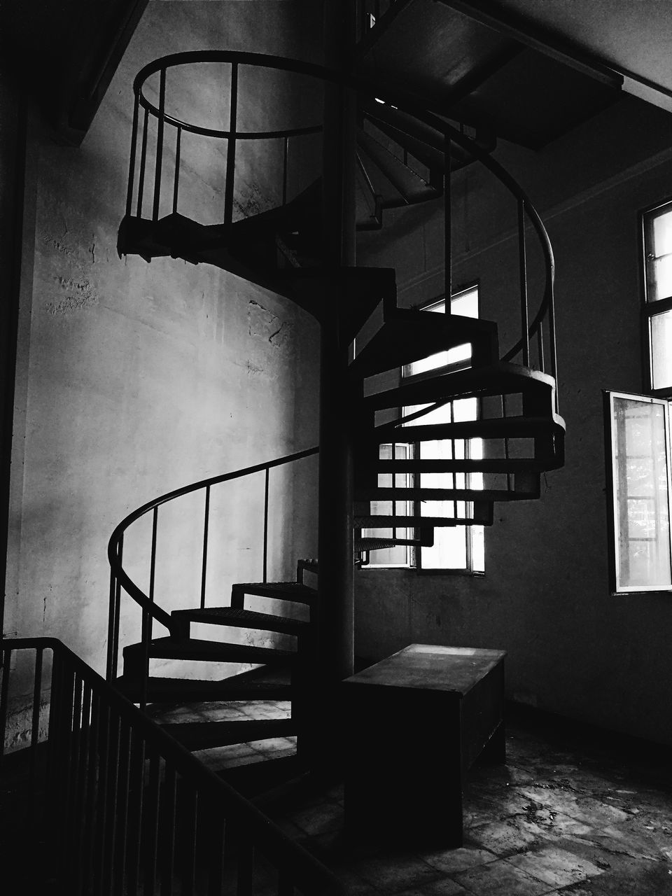 Low Angle View Of Steps In Old Abandoned Building