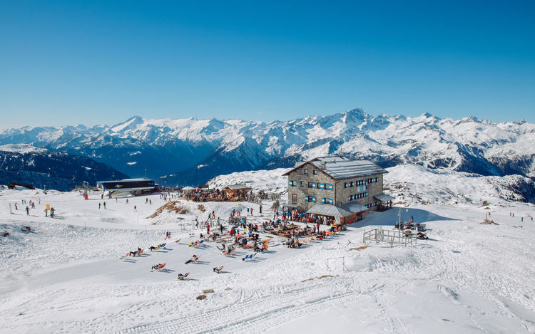 Mountain shelter in Madonna di Campiglio (ITALY) Dolomites, Italy Skiing Beauty In Nature Blue Cabin Clear Sky Cold Temperature Landscape Mountain Mountain Range Outdoors Shelter Ski Holiday Skiers Sky Snow Snow Covered snow sports Suntan Tourist Resort Tranquil Scene Tranquility Travel Destinations Vacations Winter