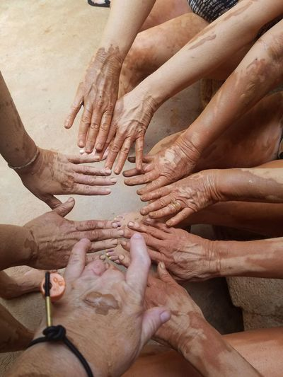 Mud Bath Human Body Part Human Hand Hand Group Of People Body Part Finger Togetherness People Real People