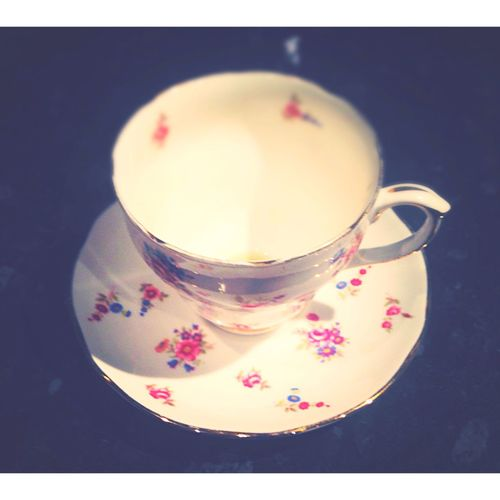 Emptycup Darkbackground Home Sweet Home Taking Photos Cupandsaucer Floral Vintagechina Vintagecup Cupoftea Drink Food And Drink Drink Refreshment Close-up Table Freshness No People Indoors