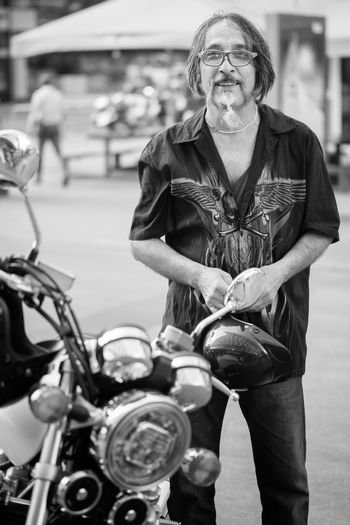 "Hamid ""I don't ride much any more. When you're old, nothing's really too good."" 100 Strangers Motorcycle Stuttgart Adult Biker Casual Clothing Glasses Hamid Land Vehicle Leather Lifestyles Motorbike Motorcycle Real People Riding Strangerphotography"