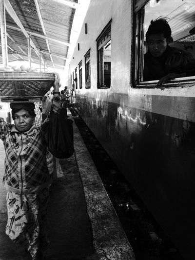 Trainstation Trains_worldwide Selling On The Street Selling Fruit Basket On The Head ASIA Asian Culture Asian Woman Trains & Railroad Trainstories Myanmar Hsipaw Waiting For A Train Wandering People Watching People Photography Blackandwhite Black And White Blackandwhite Photography Black & White Trainride Old Train Traveling Travel Travel Photography