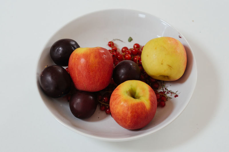 Fruit mix on a white plate