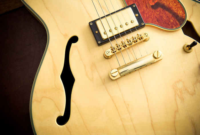 Electric guitar body detail Arts Culture And Entertainment Close-up Day Electric Guitar F Hole Fretboard Guitar Indoors  Music Musical Instrument Musical Instrument String No People Stringed Instrument Wood