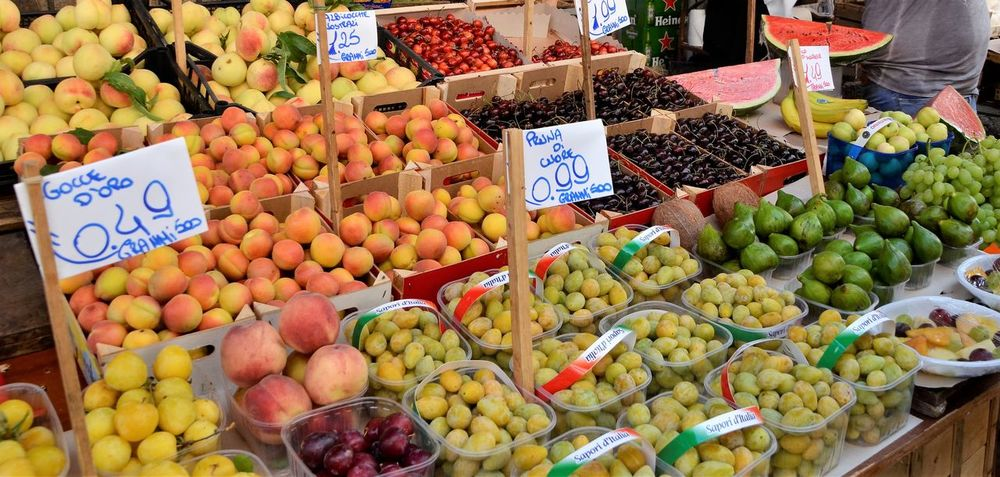 Price Tag Freshness Healthy Eating Market Market Stall Fruit For Sale Old Open Air Market Italy