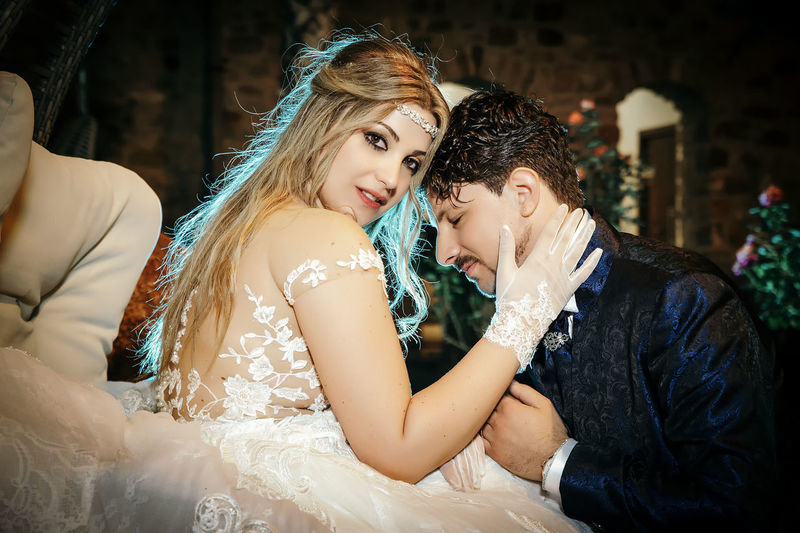 Adult Bonding Bride Celebration Ceremony Couple - Relationship Emotion Event Life Events Love Newlywed Positive Emotion Real People Togetherness Two People Wedding Wedding Ceremony Wedding Dress Women Young Adult Young Women