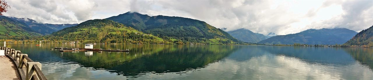 Reflection Mountain Lake Landscape Water Nature Mountain Range Beauty In Nature Travel Destinations Zell Am See Austria ❤ Travel Vacations Outdoors Day Panaromic