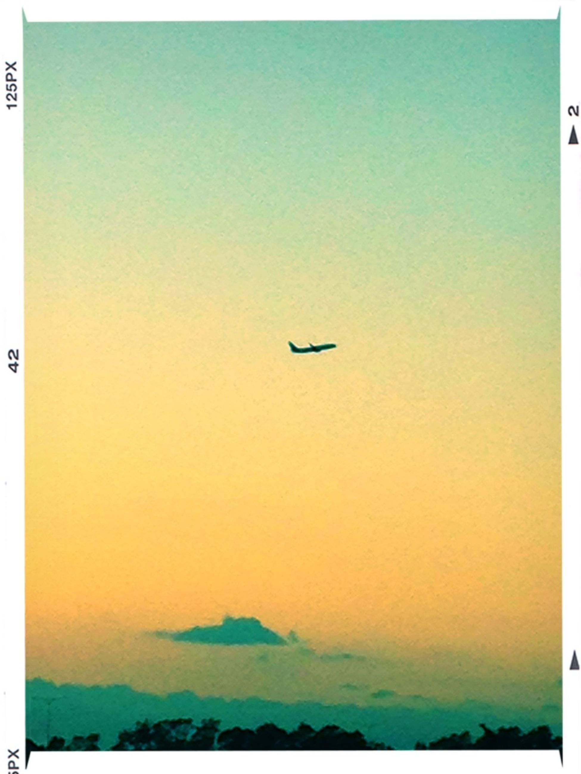 transfer print, flying, auto post production filter, transportation, copy space, mode of transport, airplane, air vehicle, clear sky, mid-air, sunset, scenics, blue, beauty in nature, nature, tranquility, travel, tranquil scene, sky, outdoors