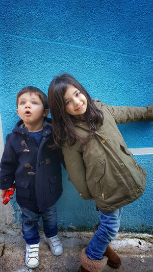 Casual Clothing Childhood Children Children Photography Elementary Age Happiness Little Boy Little Girl Looking At Camera Sibling Love Siblings Smartphonephotography Smiling Standing Taking Photos Togetherness Warm Clothing Youth Of Today