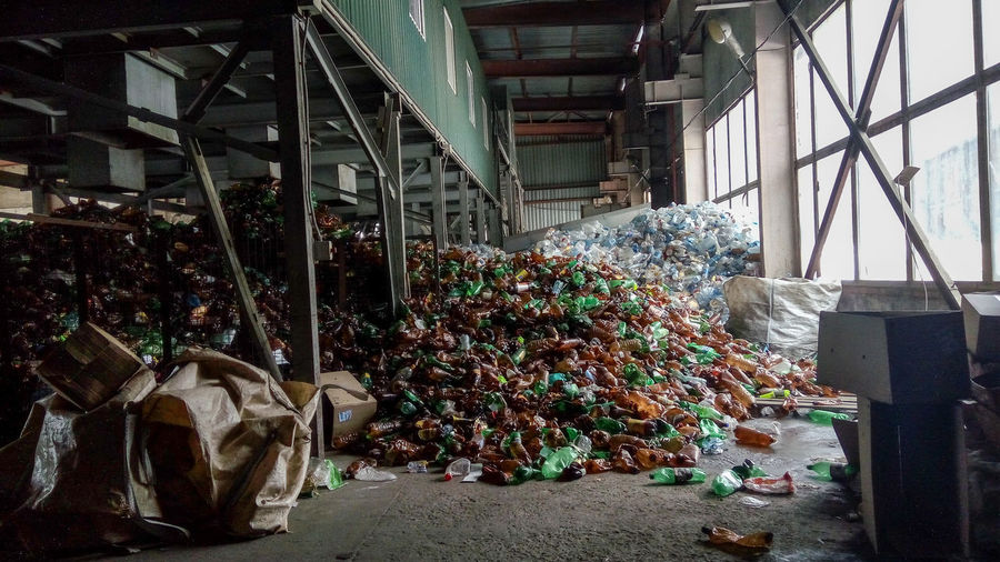 View of garbage on metal structure