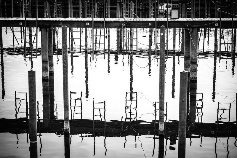 Architecture Blackandwhite Built Structure Outdoors Pole Water Waterfront Wooden Post