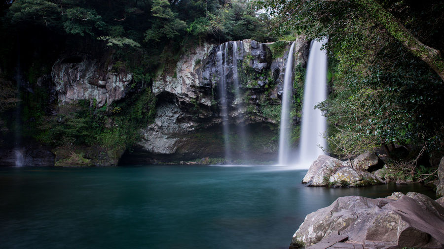Cheonjeyeon waterfalls of jeju island, korea