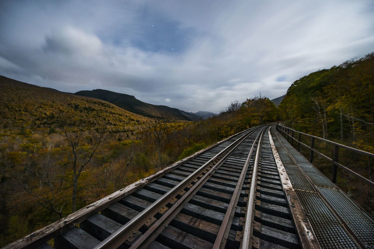 View of railroad tracks against cloudy sky