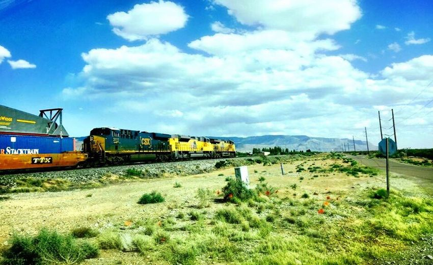 Train Transportation Cloud - Sky Mode Of Transport Sky Land Vehicle Train - Vehicle Day Public Transportation Grass Field Bus No People Outdoors Nature Beauty In Nature Locomotive New Mexico Sunny Day Alamogordo Southern Pacific Long Train Cargo Train