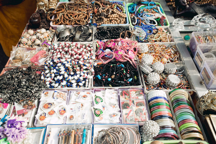 High angle view of jewelries for sale in store