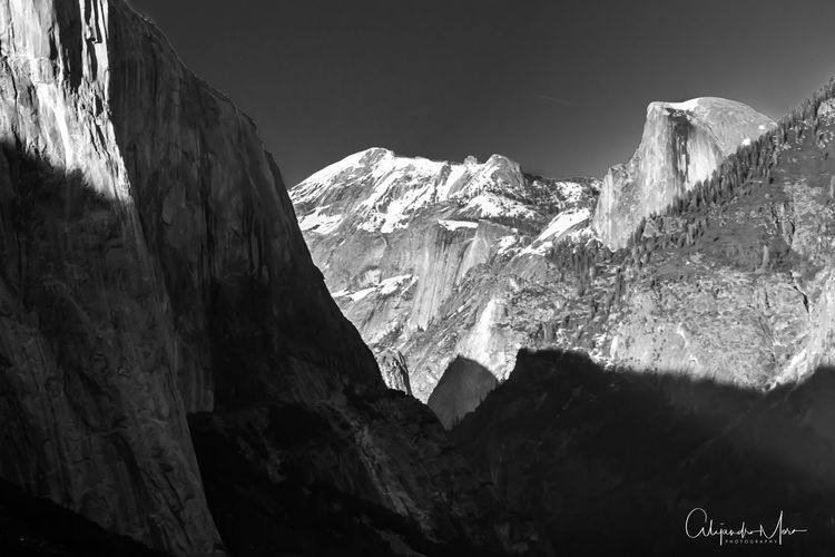 Beauty In Nature Blackandwhite Cliff Contrast Day Half Dome Sunset Mountain Mountain Range Nature No People Outdoors Rock - Object Rocky Mountains Scenics Sky Yosemite National Park