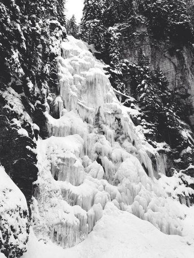 Waterfall Frozen Snow Nice Day EyeEm Nature Lover Blackandwhite Black & White Schwarzsee Fribourg Switzerland