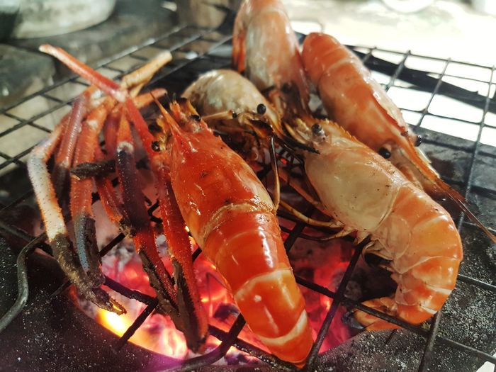 Prawns grilled on the stove Party Appetizer Snack Delicious Yummy Tasty Taste Seafood Crustacean Close-up Food And Drink Grilled Prawn Barbecue Rib Coal Shrimp Lobster Shrimp - Seafood
