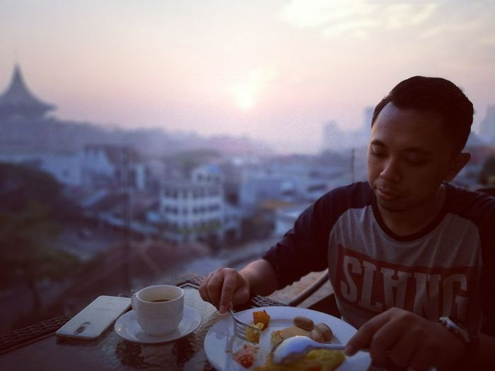 Morning breakfast Kuching Eating City Sunset Men Plate Healthy Lifestyle Breakfast Cityscape Tea - Hot Drink Table Black Coffee Beverage Coffee