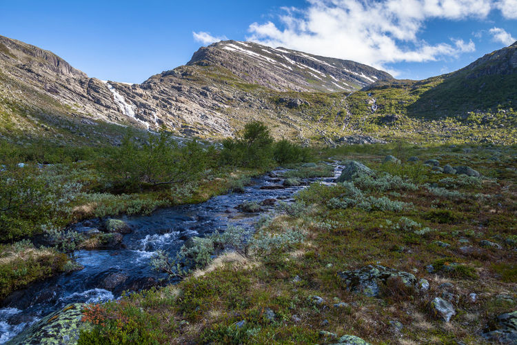 Hiking Norway Beauty In Nature Cloud - Sky Day Environment Flowing Flowing Water Hiking Adventures Idyllic Land Landscape Mountain Mountain Peak Mountain Range Nature No People Non-urban Scene Outdoors Plant River Rock Scenics - Nature Sky Stream - Flowing Water Tranquil Scene Tranquility Water Waterfall