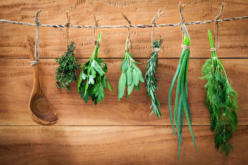 Herbs Hanging On Rope