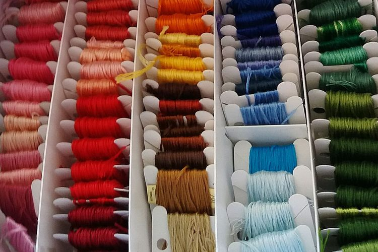Close-up of multi colored wool for sale
