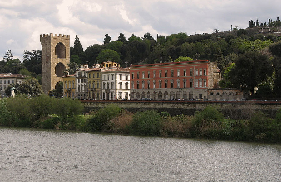 Architecture Building Building Exterior Built Structure City Cloud Cloud - Sky Cloudy Day Firence Green Color Growth Historic Italy Nature No People Outdoors Plant River Arno Sky Travel Destinations Tree