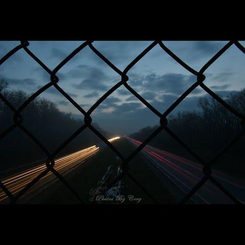 Foggy sunset over the highway. Hope everyone had a good day. Grandrapids Fog Puremichigan Grgram Lighttrails Lightinthedark