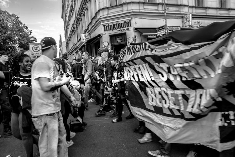 People with banners during protest on street