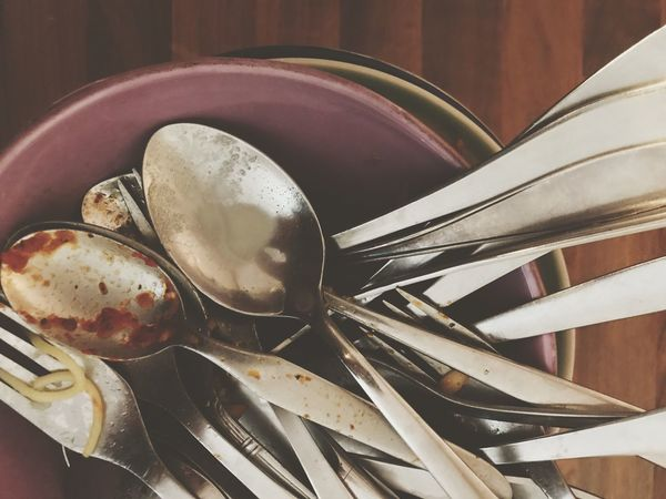 Dirty Dishes Dishware Spoon Fork Plate Indoors  Food And Drink No People Close-up Cutlery Leftovers Food Day Freshness Dirty Cutlery